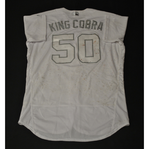 "Photo of Jacob ""KING COBRA"" Barnes Kansas City Royals Game-Used 2019 Players' Weekend Jersey"