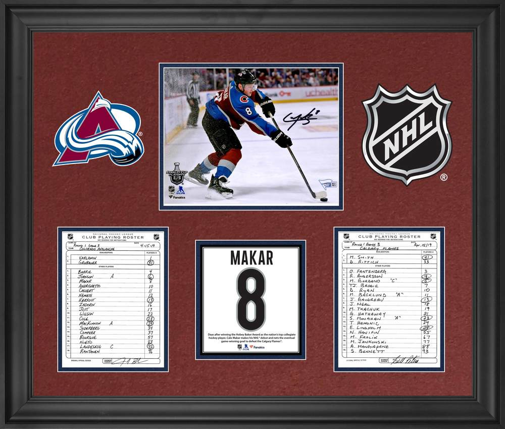 Colorado Avalanche Framed Autographed Original Line-Up Cards from April 15, 2019 vs. Calgary Flames with Cale Makar Autographed 8x10 Photograph - Cale Makar First Goal in NHL Debut