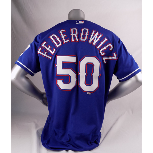 Photo of Final Season Game-Used Blue Jersey - Tim Federowicz - 7/22/19, 9/29/19