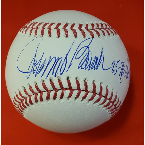 "Photo of Johnny Bench Autographed Baseball with Inscription ""75-76 WS Champs"""