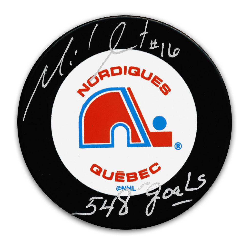Michel Goulet Quebec Nordiques 548 Goals Autographed Puck