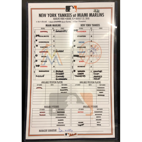 Photo of Game-Used Line Up Card: Marlins vs Yankees - 8/22/18 - Trevor Richards 9 K's- Miguel Rojas 3 Run HR - J.T. Riddle 2 Run Pinch Hit HR