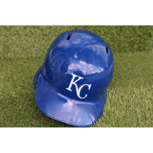 Photo of Game-Used Batting Helmet: Mike Moustakas - 1 for 4 (Size 7 1/2 - KC @ CLE- 9/15/17)