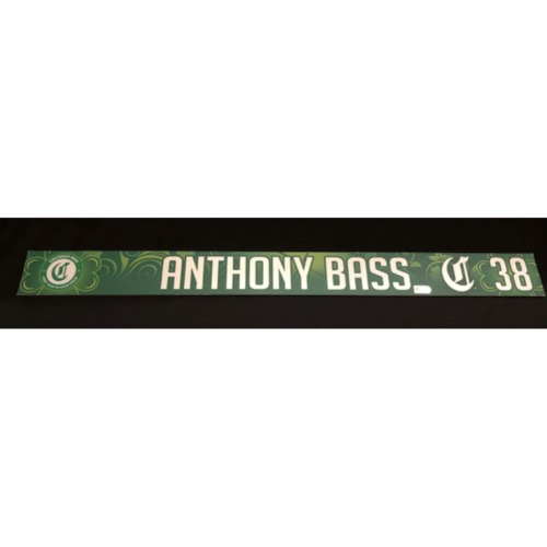 Photo of Anthony Bass -- Team-Issued Locker Name Plate -- 2019 Ba. Patrick's Day