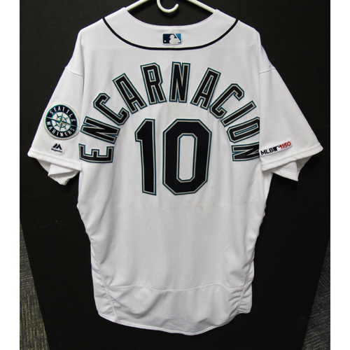 Photo of Edwin Encarnacion Game-Used Home White Jersey - Athletics vs. Mariners - 5/13/19