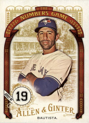 Photo of 2016 Topps Allen and Ginter The Numbers Game #NG62 Jose Bautista