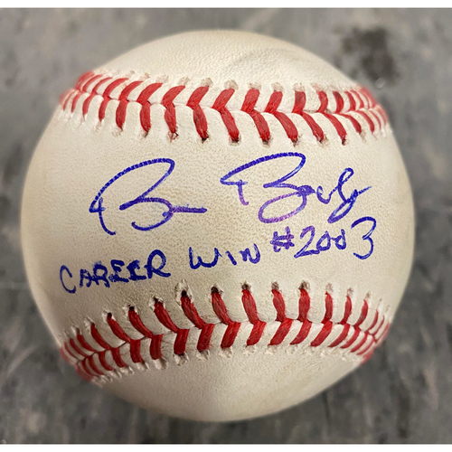 """Photo of 2019 Game Used & Autographed Baseball - Game Used on 9/26/19 vs COL - Autographed & Inscribed """"Bruce Bochy Career Win #2003"""" - Final Win of Bochy's Career"""