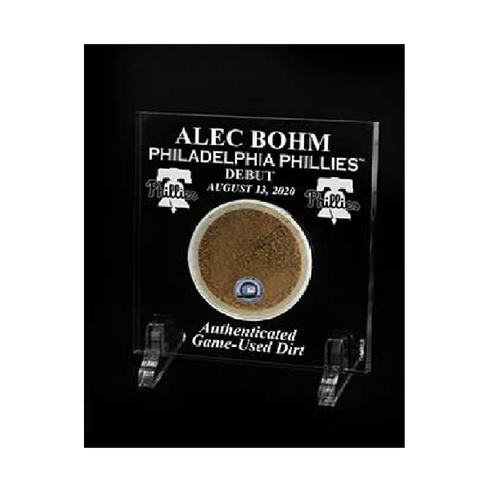 Photo of Alec Bohm Major League Debut Game-Used Dirt Acrylic Desktop Display