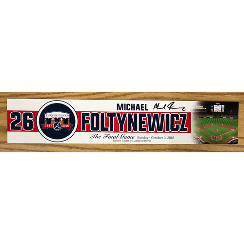 Photo of Mike Foltynewicz Autographed Game-Used Nameplate-Used for the Final Game at Turner Field