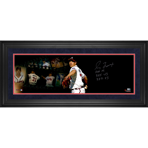 "Photo of Greg Maddux Atlanta Braves Framed Autographed 10"" x 30"" Filmstrip Photograph with Multiple Inscriptions - #1 of a Limited Edition of #31"