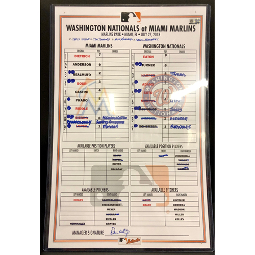 Photo of Game-Used Line Up Card: Marlins vs Nationals - 7/27/18 - Max Scherzer throws 11 K's to reach 200 strikeouts in 2018 - Juan Soto Career HR #13