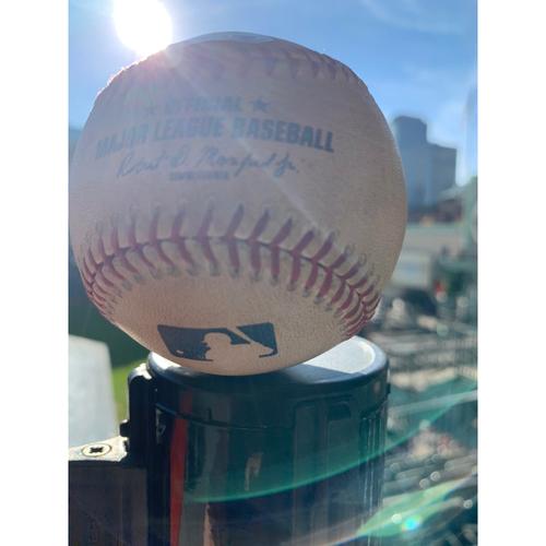 Photo of Game-Used Baseball: Pitcher: Brett Anderson, Batter: George Springer, Single (Bot 5) - 9/11/19 vs. OAK
