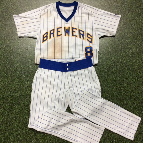 Photo of Ryan Braun 07/14/17 Game-Used 1982 Reunion Weekend Jersey & Team-Issued Pants - 6th Career Grand Slam