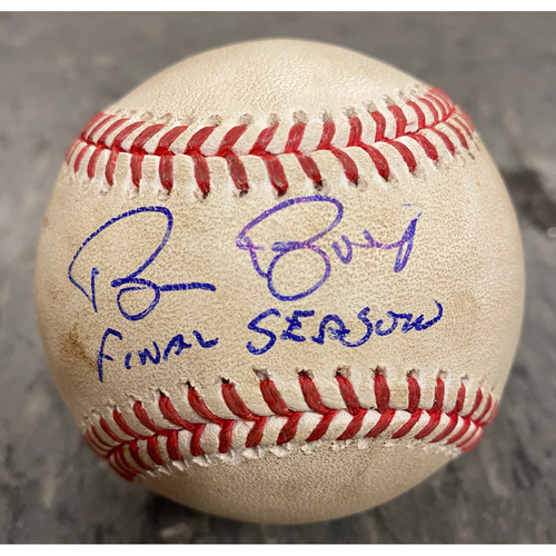 """Photo of 2019 Game Used & Autographed Baseball - Game Used on 9/28/19 vs LAD - Autographed & Inscribed """"Bruce Bochy Final Season"""""""