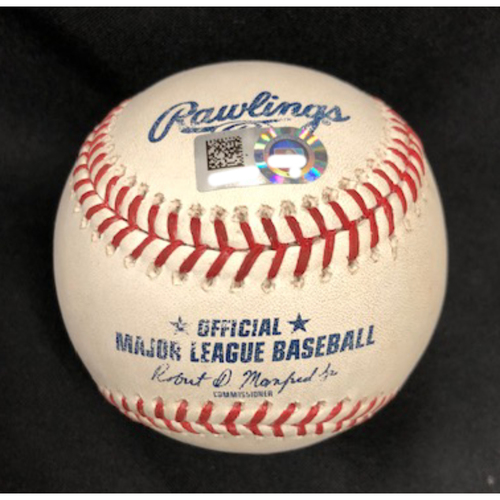 Photo of Game-Used Baseball -- 09/12/2018 -- LAD vs. CIN -- 6th Inning -- Garrett to Turner (Double)