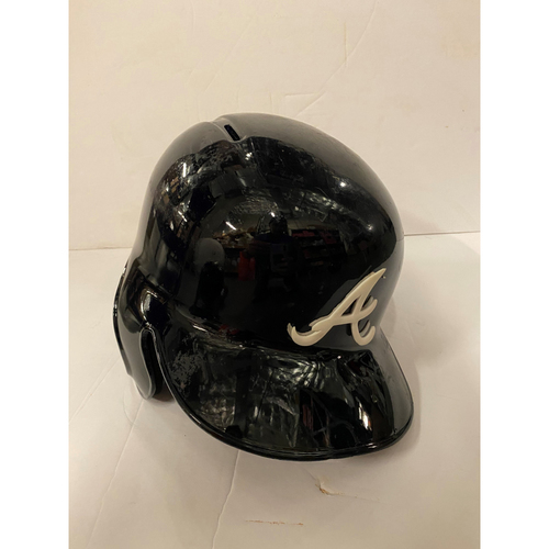 Photo of Nick Markakis Game Used Postseason Road Helmet - Worn 10/6/19