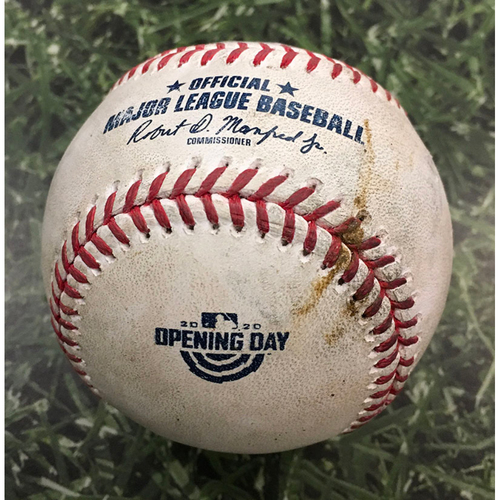 Photo of Game-Used Home Opener Baseball CHW@MIL 08/03/20 - Brett Anderson - Yasmani Grandal: RBI Sacrifice Fly
