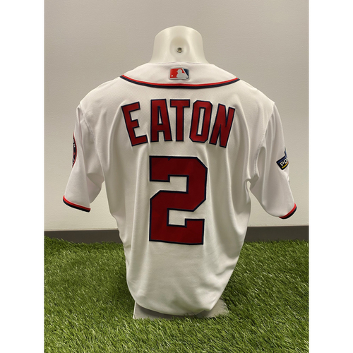 Photo of Adam Eaton Game-Used 2019 White Jersey with Postseason Patch