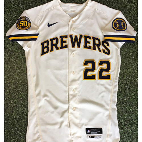Photo of Christian Yelich 08/03/20 Game-Used Home Opener Jersey - 2-4, 2B, BB, R