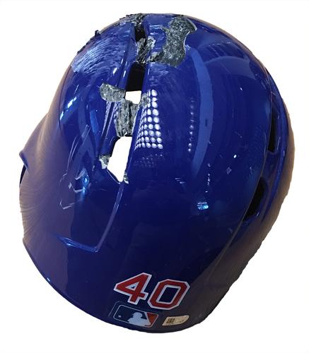 Willson Contreras Team-Issued Cracked Batting Helmet -- Size 7 1/2 -- Diamondbacks vs. Cubs -- 8/1/17