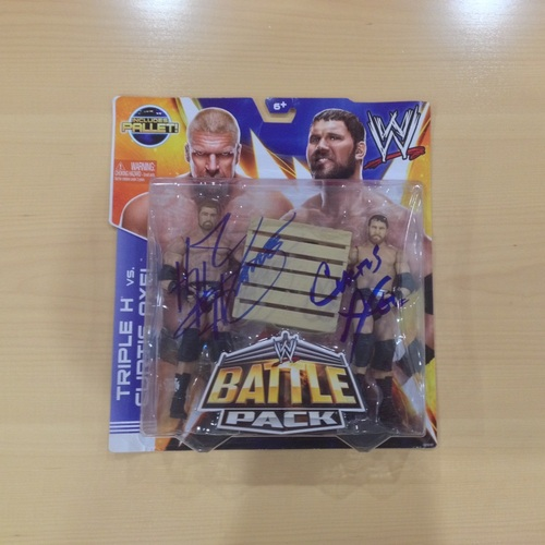 Triple H & Curtis Axel SIGNED Battle Pack Action Figures