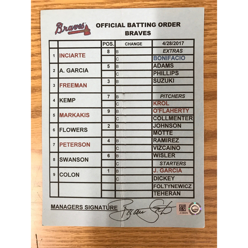 Photo of Game-Used Manager's Lineup Card - April 28, 2017 - Braves Manager Brian Snitker