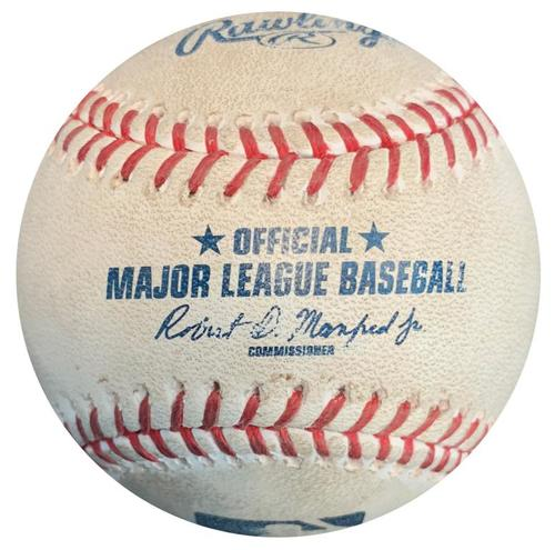 Photo of Game-Used Baseball from Pirates vs. Brewers on 5/6/17 - Garza to Jaso, Double