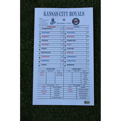 Photo of Coaches Replica Line-Up Card: Jorge Lopez 8 Perfect Innings (KC @ MIN- 9/8/18)