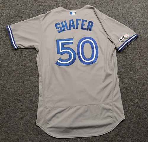 Photo of Authenticated Game Used Jersey: #50 Justin Shafer (Jul 29, 19 vs KC: 1 IP, 0 ER, 1 BB, 2 Ks). Size 46