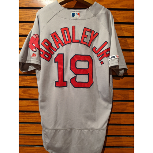 Photo of Jackie Bradley Jr. Game Used Road Gray Jersey
