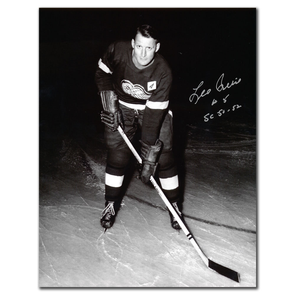 Leo Reise Detroit Red Wings 50 & 52 Cups Autographed 8x10