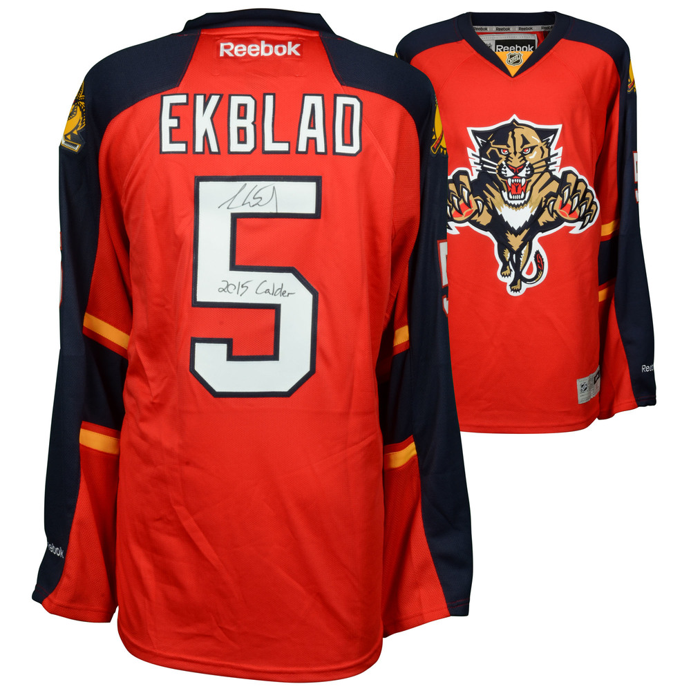 Aaron Ekblad Florida Panthers Autographed Red Reebok Premier Jersey with 2015 Calder Inscription