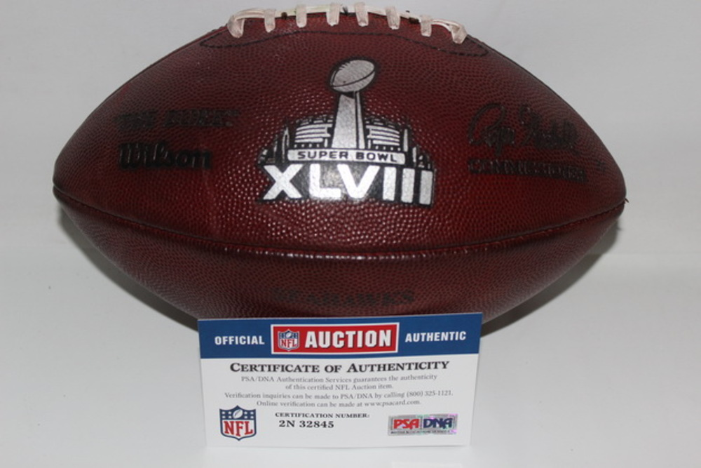 NFL - SUPER BOWL 48 GAME USED FOOTBALL W/ SEAHAWKS STAMP