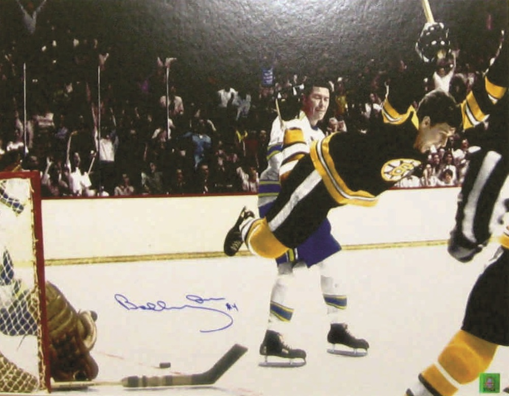 Bobby Orr - Signed 16x20  Bruins The Goal Colour