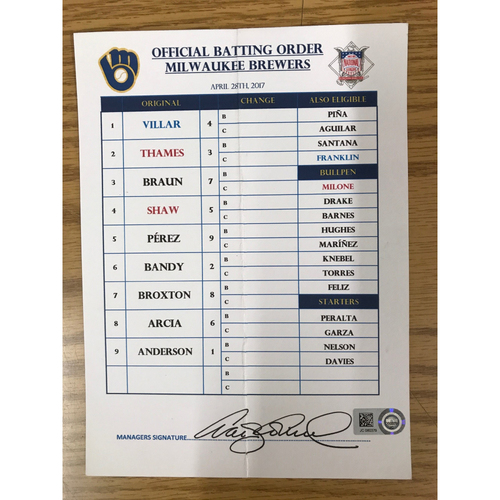 Photo of Game-Used Manager's Lineup Card - April 28, 2017 - Brewers Manager Craig Counsell (Not authenticated as signed by Counsell)