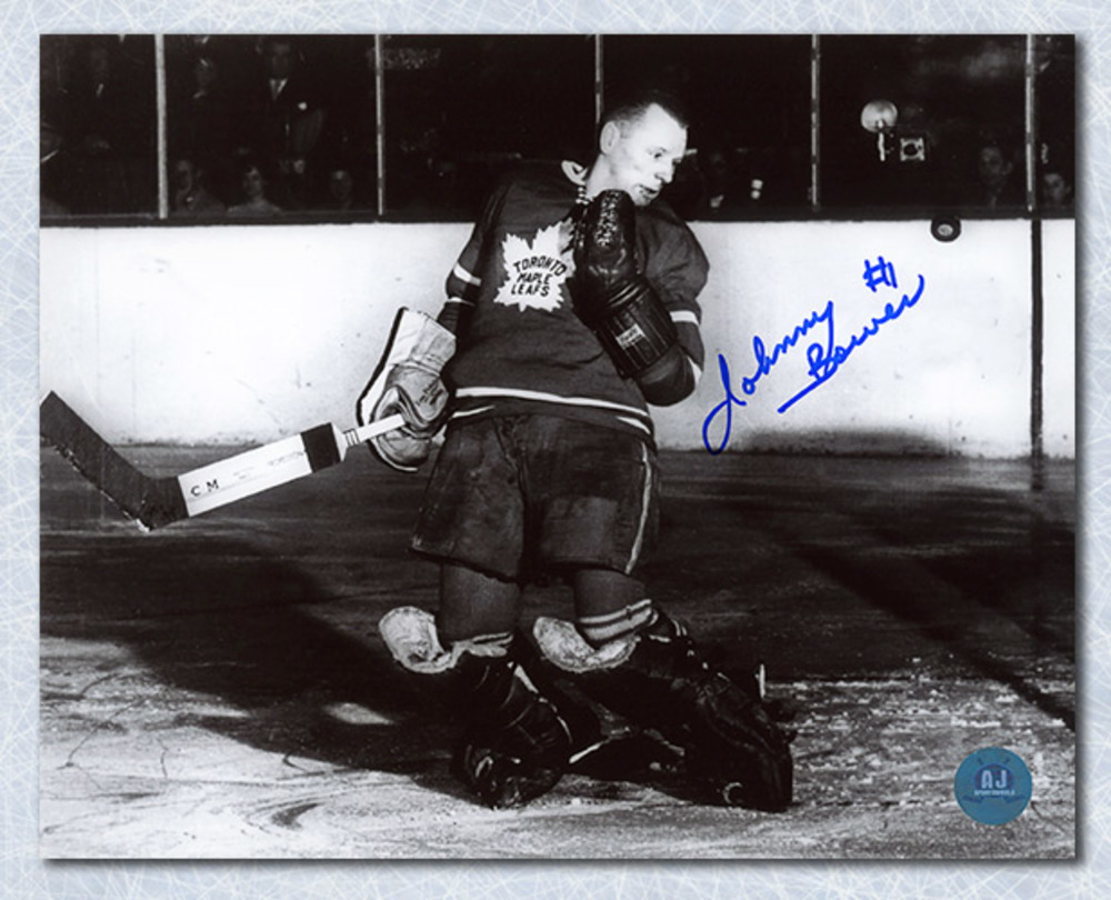 Johnny Bower Toronto Maple Leafs Autographed Black & White Action 8x10 Photo