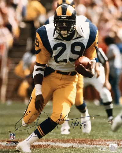 "Photo of Eric Dickerson ""HOF 99"" Autographed 16x20 Photo (Rushing)"
