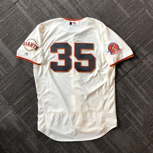 Photo of 2018 San Francisco Giants - #25 Number Retirement Game - Game Used Jersey worn by #35 Brandon Crawford - jersey features a commemorative patch celebrating #25 Number Retirement on August 11,2018 - Size 48