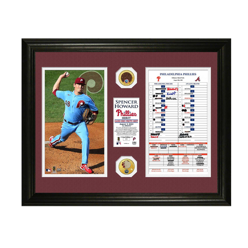 Photo of Spencer Howard Major League Debut Game-Used Dirt & Ball Frame