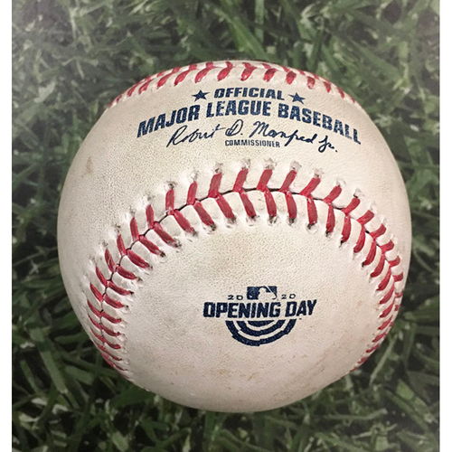 Photo of Game-Used Home Opener Baseball CHW@MIL 08/03/20 - Carlos Rodon - Manny Pina: Foul