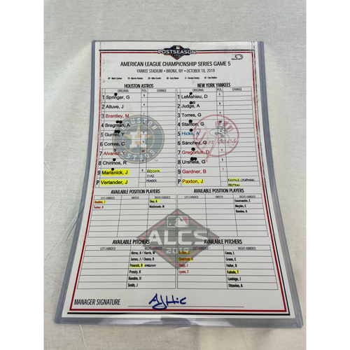Photo of 2019 ALCS Game 5 - Houston Astros at New York Yankees Game Used Lineup Card