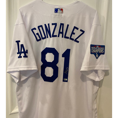 Photo of Victor Gonzalez Autographed Authentic Los Angeles Dodgers Jersey