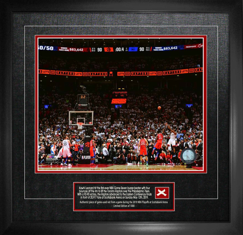 """Kawhi Leonard Unsigned """"The Shot"""" 16""""x20"""" Photo With Game Used Netting Framed"""