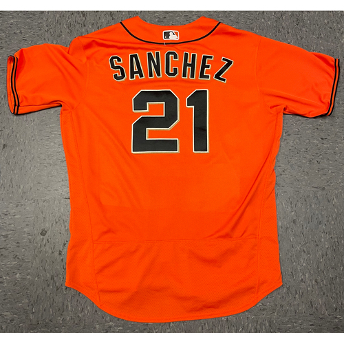 Photo of 2021 Game Used Orange Home Alt Jersey worn by #21 Aaron Sanchez on 4/23 vs. MIA - Size 46