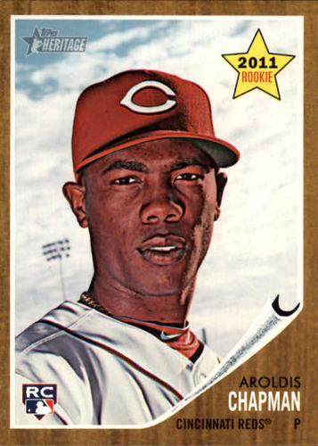 Photo of 2011 Topps Heritage #199 Aroldis Chapman Rookie Card