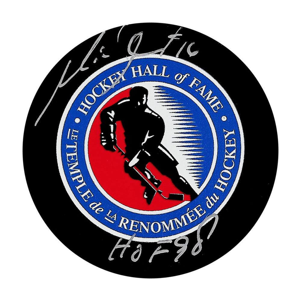 Michel Goulet Autographed Hockey Hall of Fame Puck w/HOF Inscription