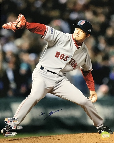 Photo of Hideki Okajima Autographed 16x20 Photo (Pitching)