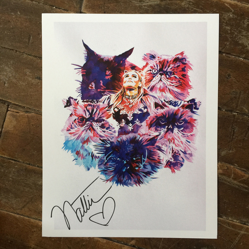 Photo of Natalya SIGNED 11 x 14 Rob Schamberger Print (Claws Out)
