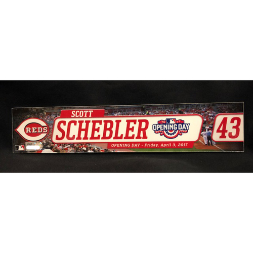 Photo of Scott Schebler - Team-Issued Locker Tag - Used for 2017 Opening Day
