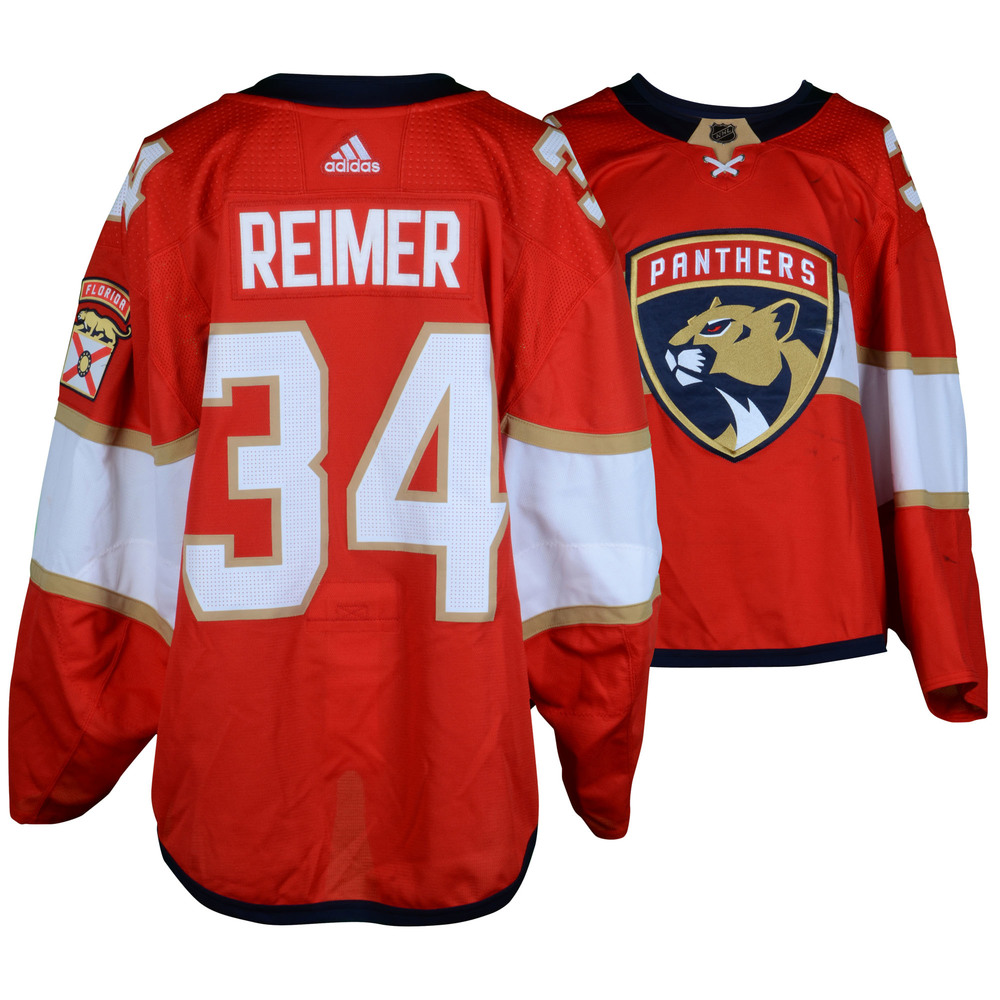 separation shoes e8001 73e63 James Reimer Florida Panthers Game-Used Home Red #34 Set 1 ...